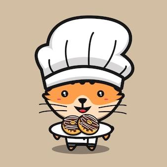 도넛 만화 vecto를 만드는 귀여운 고양이 요리사