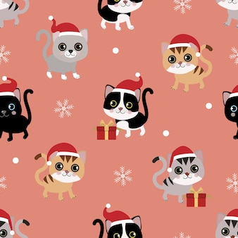 Cute cat in christmas hat seamless pattern