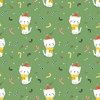 Cute cat in christmas theme seamless pattern