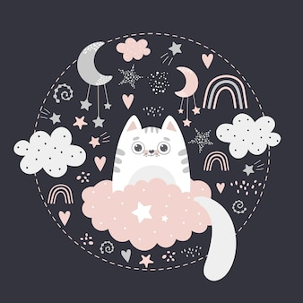 Cute cat on the cloud