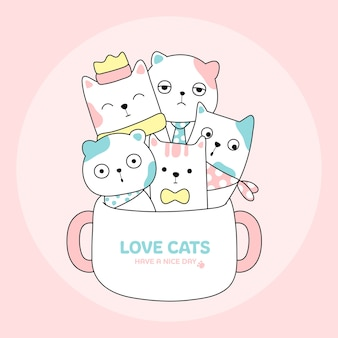 Cute cat in coffee cup animal hand drawn style