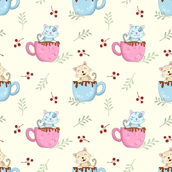 Cute cat in coffee cup morning time pattern.