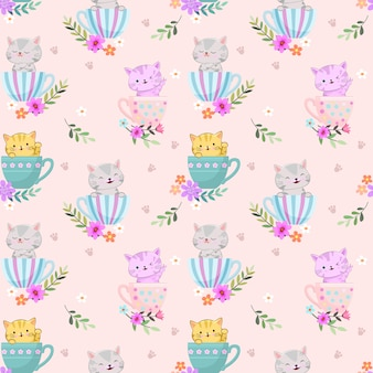 Cute cat in coffee cup morning times seamless pattern.