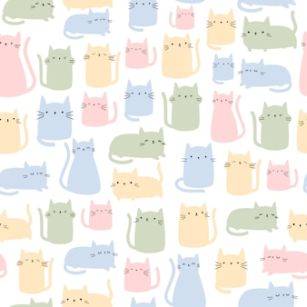 Cute cat colorful cartoon doodle seamless pattern