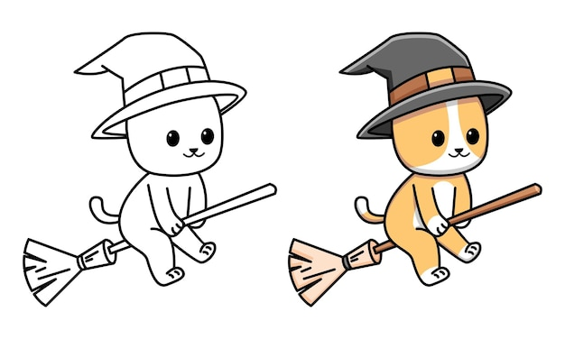 Cute cat coloring page for kids