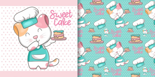 Cute cat cooking seamless pattern and illustration card