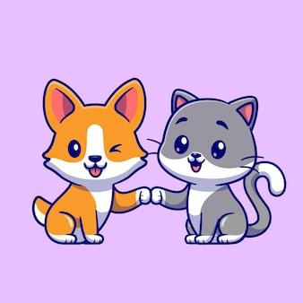 Illustrazione sveglia dell'icona di vettore del fumetto del cane e del gatto del corgi. concetto di icona amico animale isolato vettore premium. stile cartone animato piatto