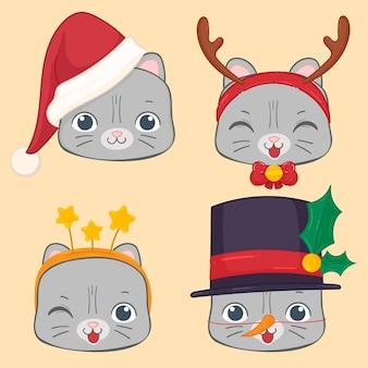 Милый кот костюм новогодний набор наклеек
