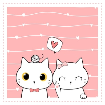 Cute cat couple cartoon doodle card