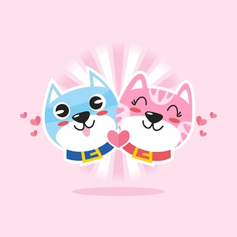 Cute cat couple character cartoon  illustration flat design