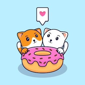 Cute cat couple eating donuts