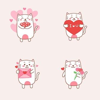 Милая кошка пара влюбляется мультяшный рисованной на день святого валентина.