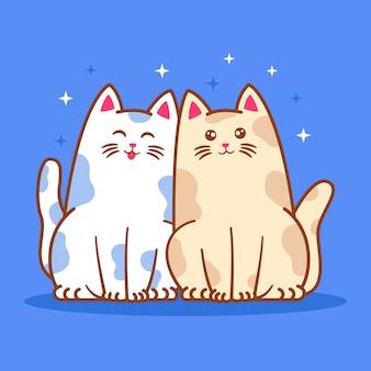 イラストのかわいい猫のカップル