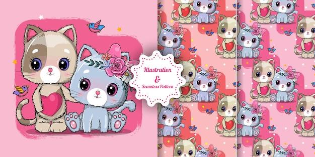 Милая пара кошек на валентинку. пригласительная открытка. бесшовные модели