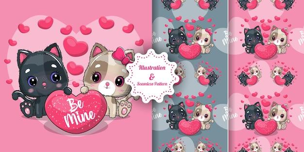 バレンタインのためのかわいい猫のカップル。招待状。シームレスパターン