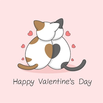 Cute cat couple from the back valentines day