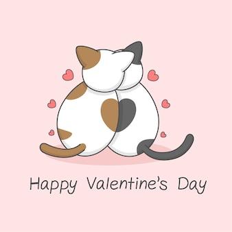 後ろのバレンタインデーからかわいい猫のカップル