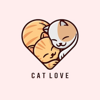 Милая кошка-пара обнимается друг с другом и делает форму сердца