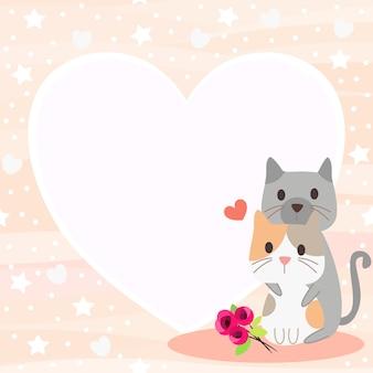 발렌타인 데이 테마 배경에서 귀여운 고양이 커플.