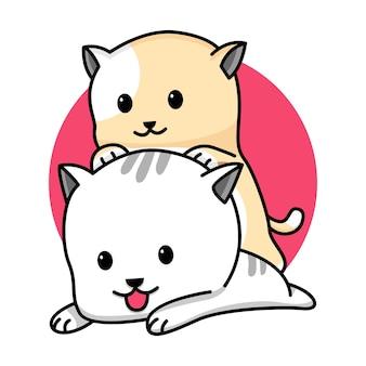 귀여운 고양이 커플 연인 만화 일러스트 레이션