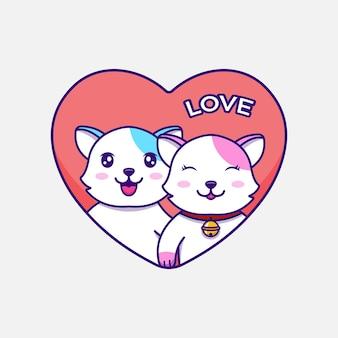 バレンタインデーのかわいい猫のカップル