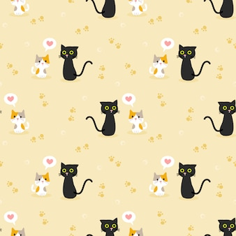 Cute cat couple seamless pattern.