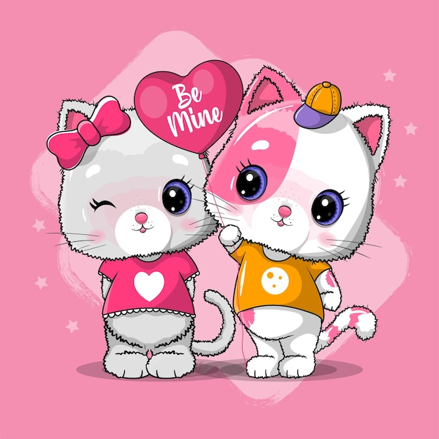 Cute cat couple for valentine. invitation card.   illustration