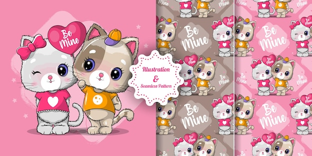 Cute cat couple for valentine. invitation card. seamless pattern