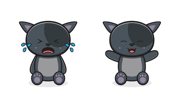 かわいい猫の泣き笑う漫画アイコンイラスト。孤立したフラット漫画スタイルをデザインする