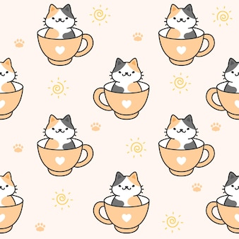 Cute cat in a cup of coffee seamless pattern background