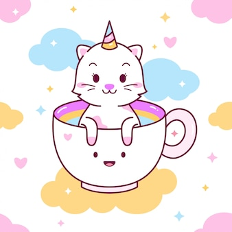 Cute cat in a cup seamless pattern
