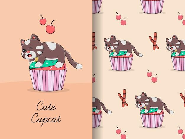 Симпатичный кот кекс пучок бесшовные модели и карты