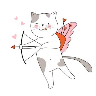 활과 날개를 가진 귀여운 고양이 큐피드 사랑스러운 동물 벡터 손으로 그린 그림