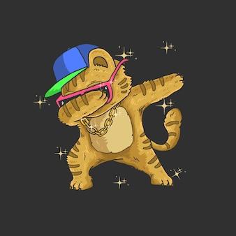 Cute cat dabbing dance illustration