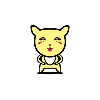 Милый кот дизайн иллюстрация мультфильм талисман животных весело