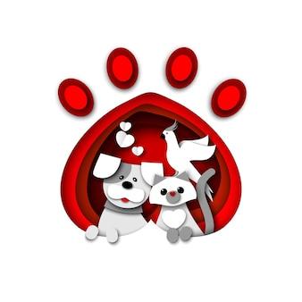 귀여운 고양이 강아지와 앵무새가 애완 동물 동물 발 인쇄 벡터 종이 컷 그림 애완 동물 가게 선반에 앉아 있습니다.