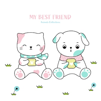 Cute cat and dog animal hand drawn style