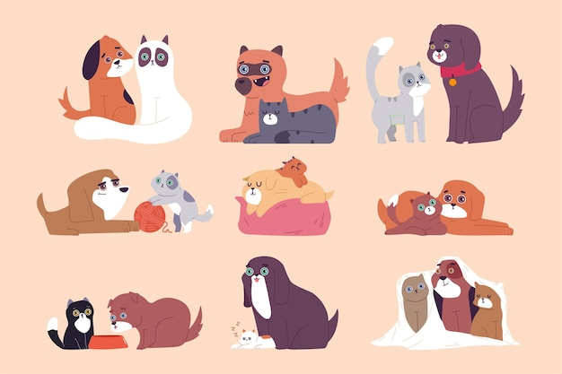 Cute cat and dog best friends  cartoon set isolated on a white background.