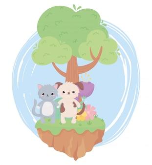 자연 풍경에 귀여운 고양이 개 꽃 나무 잔디 만화 동물