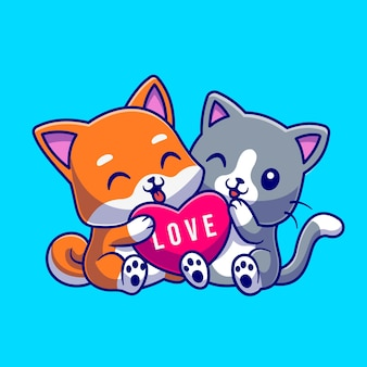 Cute cat and dog holding love heart cartoon vector icon illustration. animal nature icon concept isolated premium vector. flat cartoon style