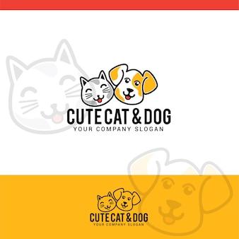 Cute cat and dog logo
