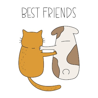 Cute cat and dog sitting together handwritten lettering best friends