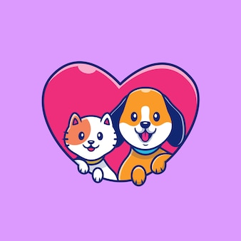 Cute cat and dog with love icon illustration. animal icon concept isolated. flat cartoon style