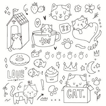 かわいい猫の落書き手描き漫画。箱の中に描くかわいい猫。猫のアイコンシンボル子猫