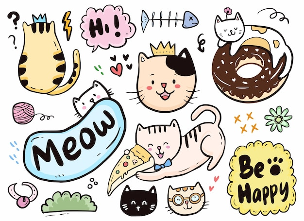 Cute cat doodle playing with pizza and doughnut collection set