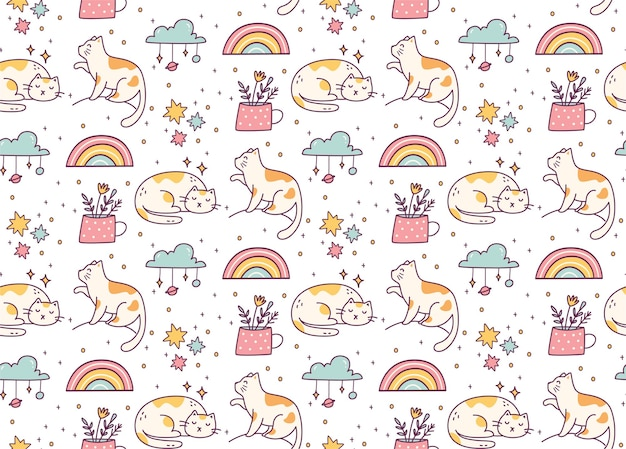 Cute cat doodle seamless pattern