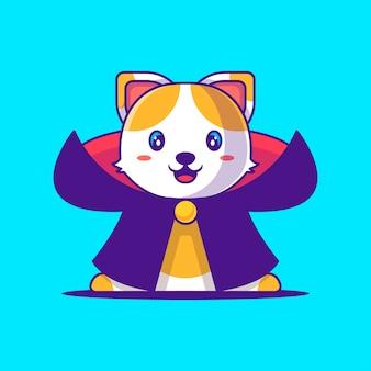 Милый кот дракула иллюстрации шаржа. хэллоуин плоский мультяшный стиль концепции