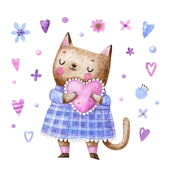 Cute cat in dress holding pink heart in cartoon style for valentines day