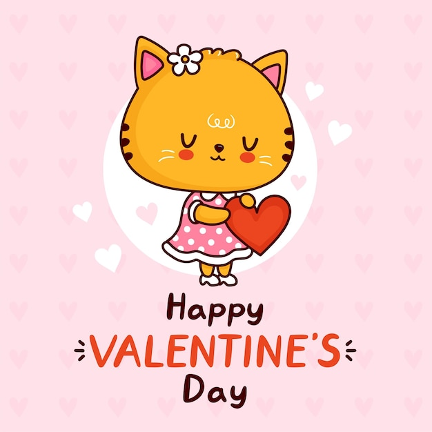Cute cat in dress with heart greeting carrd