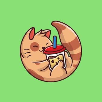 Милый кот пить чай с молоком боба мультфильм значок иллюстрации. изолированное понятие значка напитка животного. плоский мультяшном стиле